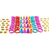 Kidz Whizz 84 Piece Mega Emoji Party Supplies Emoticon Smile Toy Novelty Party Favor Assortment; 24 Emoji Smile Bubble Bottles; 24 Silicone Emoji Smile Bracelets; 36 Emoji Smile Temporary Tattoos