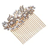 Remedios (2 Colors) Vintage Pearl Crystal Bridal Hair Comb Wedding Hair Clip, Rose Gold