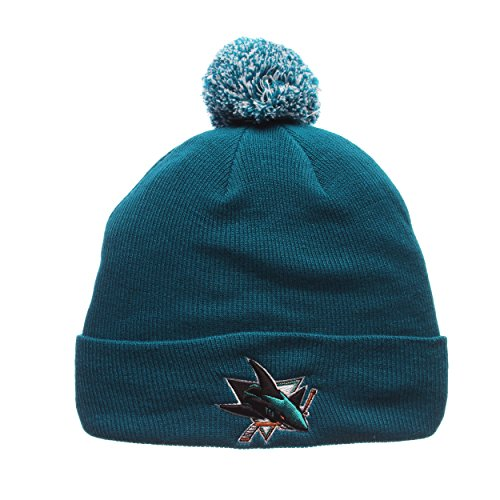 San Jose Sharks Teal Cuff Beanie Hat with Pom POM - NHL Cuffed Winter Knit Toque Cap (San Jose Sharks Toque compare prices)