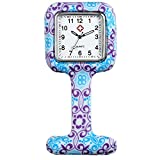 Lancardo Fob Watch For Nurses And Doctors In White Silicone Hygienic Protection Cover (Purple)