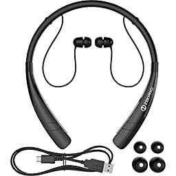 ZekPro Bluetooth Headphones With Mic [Long Lasting Battery Life] - Premium Quality Wireless Stereo Earbuds Headset For iPhone 6s Samsung S6 S5 Note4 Motor LG HTC Phones - Best Earphones [Black]