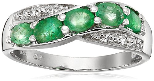 0.70 Carat Genuine Emerald & White Topaz .925 Sterling Silver Ring (Genuine Emerald Ring compare prices)