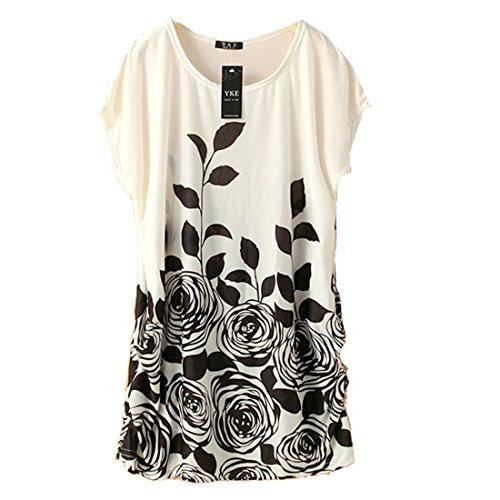 Fashion Womens Ice Silk Flower Printed Loose Casual Shirts Top Dress Plus Size