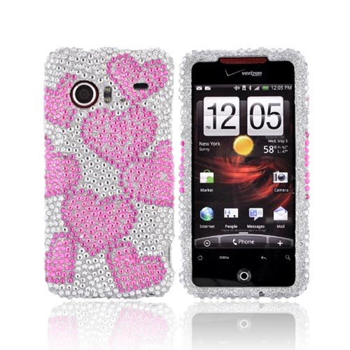 Bling Case Pink Hearts HTC Droid incredible