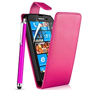 Supergets® Nokia Lumia 610 Wallet Case,Screen Protector, Touch Screen Stylus and Micro Fibre Cloth Hot Pink