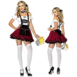 Sexy German Burgundy Beer Ale Girl Wench Fancy Dress Costume Outfit by Spooky's
