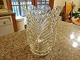 Stunning Leaded Crystal Vase Leaf Pattern Scalloped Edge