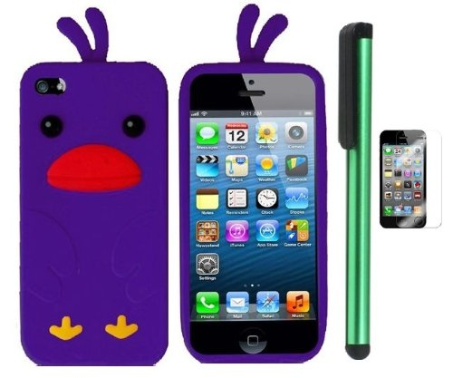 =>>  Purple Funny Duck Silicone Skin Premium Design Protector Soft Cover Case Compatible for Apple Iphone 5 (AT&T, VERIZON, SPRINT) + Screen Protector Film + Combination 1 of New Metal Stylus Touch Screen Pen (4