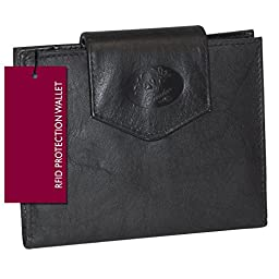 Buxton Leather Cardex Attache Clutch Credit Card Wallet (Black-RFID Protected)