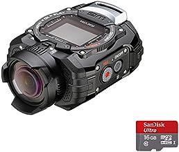 Ricoh WG-M1 Caméra  étanche miniature + Dragonne avec Mousqueton + Support adhésif + Carte Micro SD 16 Go 14 Mpix Noir