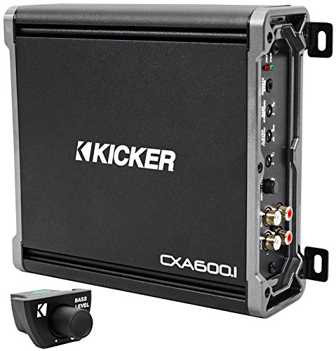 Package: Kicker 43CXA6001 600 Watt Mono Amplifier + Kicker 43CXARC Remote Control For CX or PX SERIES Car Amplifiers + Rockville RWK41 4 Gauge 2 Channel Complete Wire Kit With RCA Cables (Kicker Bass Remote compare prices)