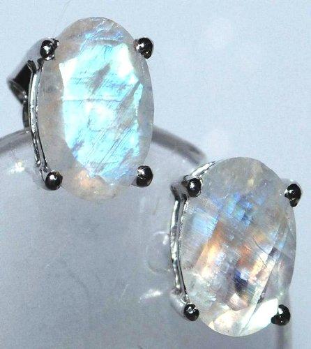 925 Sterling Silver Stud Earring Faceted Rainbow Moonstone Real Gemstone Earrings, Rhodium Plated Silver