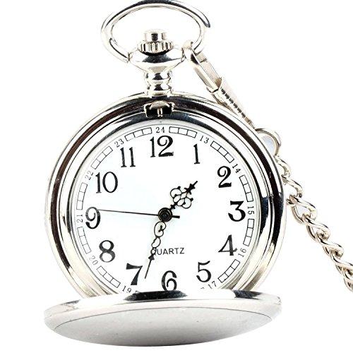 XLORDX Moda Classico, Orologio da taschino , Half Hunter, misura grande,catena lunga(argento)