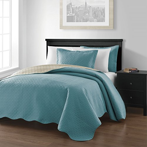 Best Deals! Chezmoi Collection Mesa 3-piece Reversible Bedspread King Size, Blue/Khaki