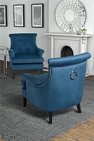 MY-Furniture – Fauteuil POSITANO, tapisserie de haute qualité, capitonnage à boutons, anneau métallique au dos – Wedgewood Bleue