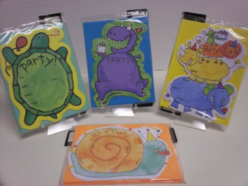 32pc Animals Party Invitations - Cards, Envelopes,