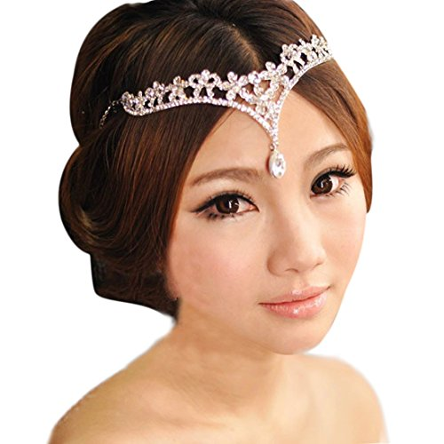Voberry® Women Bridal Crown Forehead Crystal Pendant Wedding Hair Jewelry Bride Headdress Hair Accessories
