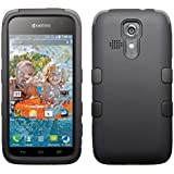 MyBat Rubberized TUFF Hybrid Phone Protector Cover for Kyocera C6725 Hydro Vibe - Retail Packaging - Black