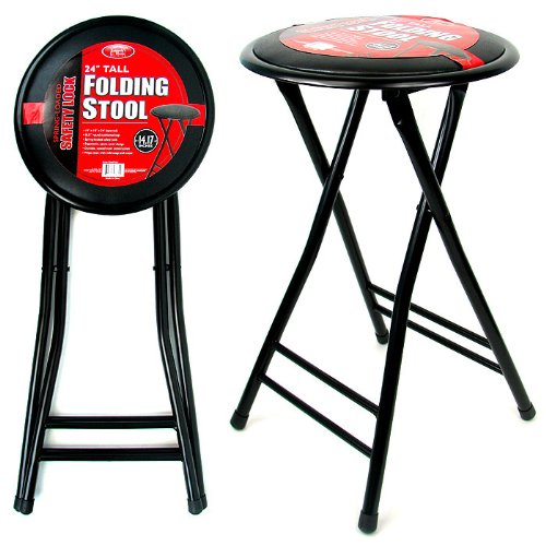 24 Inch Cushioned Folding Stool - Trademark Home Collection