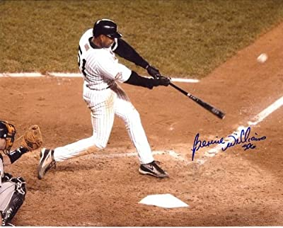Bernie Williams Autographed/ Original Signed 8x10 Color Photo Showing Him in a New York Yankee Uniform