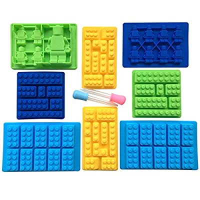 10-Piece Silicone Candy Molds Set Building Blocks and Robots with Easy Fill Droppers for Lego Lovers