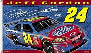 NASCAR Jeff Gordon #24 3-by-5-foot Flag by Flagpole To Go