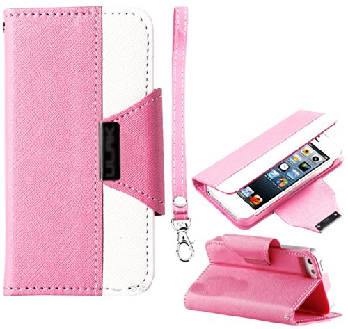 Mylife (Tm) Light Pink And White Fancy Design - Textured Koskin Faux Leather (Card And Id Holder + Magnetic Detachable Closing) Slim Wallet For Iphone 5/5S (5G) 5Th Generation Itouch Smartphone By Apple (External Rugged Synthetic Leather With Magnetic Cli