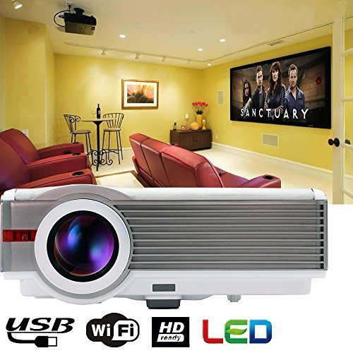 EUG Portable 1080p High Brightness Wireless LCD Projector, 4200 Lumens LED Lamp, Hdmi/usb/vga/av/tv, Built-in Android System and Speakers with Wifi for Home Theater, Gaming, Movie, Education- Gold&white