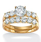 4.60 CT TW Round DiamonUltra™ Cubic Zirconia Wedding Ring Set in 18k Gold over Sterling Silver