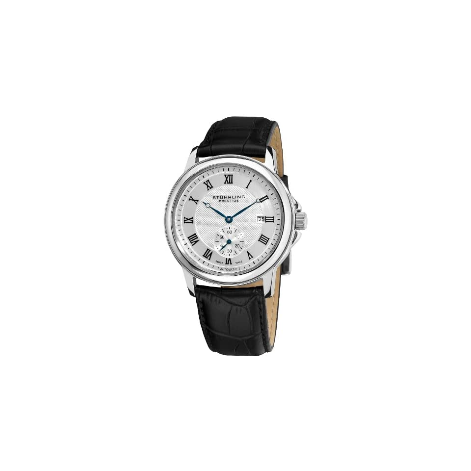 Stuhrling Prestige Mens 357.33152 Prestige Swiss Made Laurel Automatic Date Silver Tone Watch