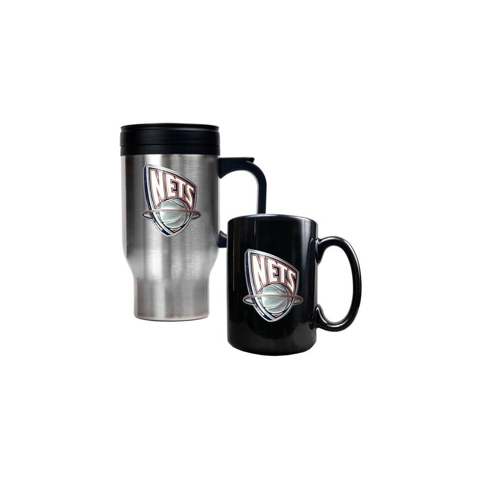 New Jersey Nets NBA Stainless Steel Travel Mug & Black Ceramic Mug Set   Primary Logo