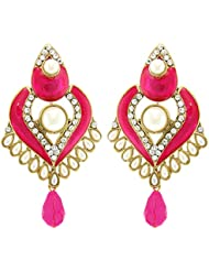 Tradisyon Bollywood Inspired Sterling Pink Dangler/Drop Earring By Kaizer
