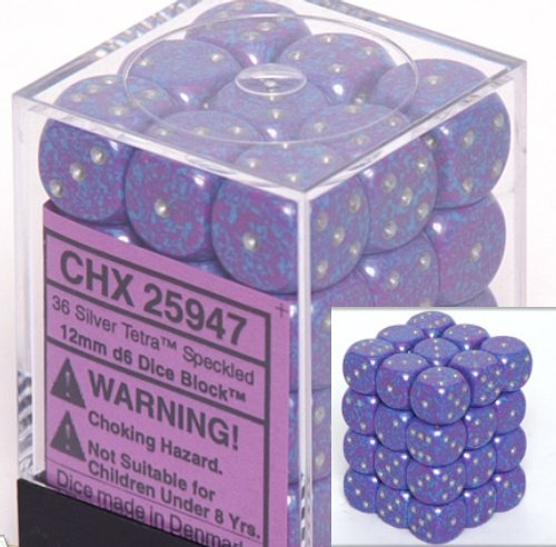 Chessex Dice d6 Sets: Silver Tetra Speckled - 12mm Six Sided Die (36) Block of Dice