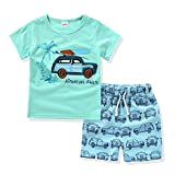 AJia Kids 2 Piece Short Sleeve Shirt and Shorts for 1 to 5 Years Olds Little Boy (2t, Green)