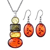 YiYi Operation Women's Silver Chain Insect Amber Beeswax Necklace Earrings Jewelry Sets