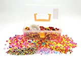 Fantastic Warm Coloured Chunky Jewellery Making Kit in clear carry case with handle. Ideal gift item for the younger budding jewellery maker. Enough materials to make 20 bracelets and 24 necklaces. Assorted wooden and plastic beads with stretchy cord inc
