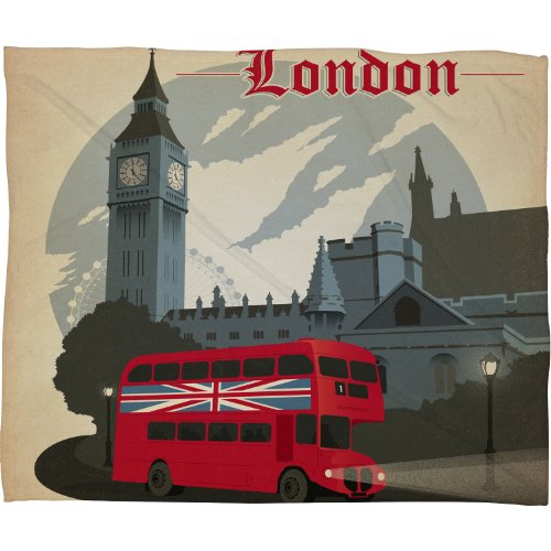 Deny Designs Anderson Design Group London Fleece Throw Blanket, 60 By 50-Inch