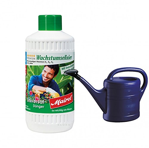 MAIROL Universal-Dünger Liquid 500 ml + GELI Gießkanne aus Kunststoff 5 Liter