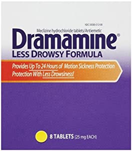 Dramamine Less Drowsy Formula, 8 - 25 mg Tablets per Pack,  (Pack of 6)