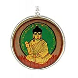 Redbag Blessing Buddha - Hand Painted Silver Pendant ( 5.08 Cm, 5.08 Cm, 1.27 Cm )