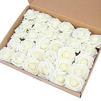 Artificial Flower Rose,Marry Acting 30pcs Real Touch Artificial Roses for DIY Bouquets Wedding Party Baby Shower Home Decor (Ivory)