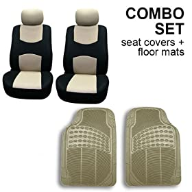 FH-FB050102 + V16404FRONT: Beige Modern Flat Cloth Bucket Seat Covers and Beige Vinyl Front Floor Mats