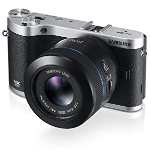 """Samsung NX300 20.3MP CMOS Smart WiFi Compact Interchangeable Lens Camera  with 45mm 2D/3D Lens and 3.3"""" AMOLED Touch Screen (Black) (Discontinued by Manufacturer)"""