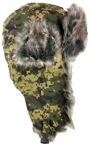 Dakota Dan Mens Ear Flap Cap w/ Faux Fur Lining (Digital Camo Green) (Digital Hat compare prices)