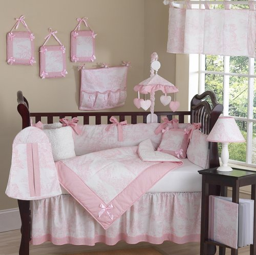 JoJo Designs 9-Piece Baby Crib Infant Bedding Set - Vintage French Pink Toile