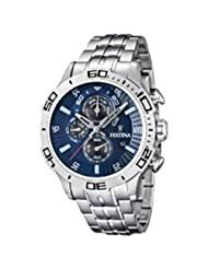 Festina Men's F16565/2 Silver Stainless-Steel Quartz Watch with Blue Dial