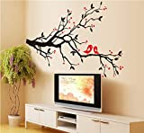 UberLyfe Valentine Red Heart Tree with Love Birds Wall Sticker (Wall Covering Area: 60cm x 85cm)