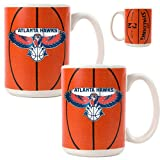 Atlanta Hawks NBA 2pc Ceramic Gameball Mug Set - Primary Logo