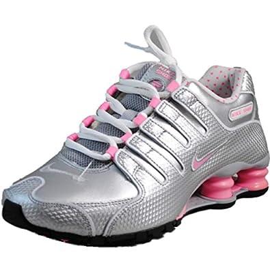 Nike Women's Shox NZ EU - Cool Grey / Pink-Metallic Silver-White, 10 B US