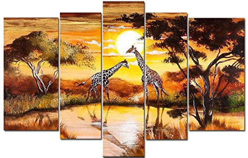 Sangu Gift 100% Hand-Painted Hot Selling Free Shipping Framed 5-Piece Giraffe Meeting Oil Paintings Canvas Wall Art For Home Decoration(10X16Inchx2,8X20Inchx2,8X24Inchx1)